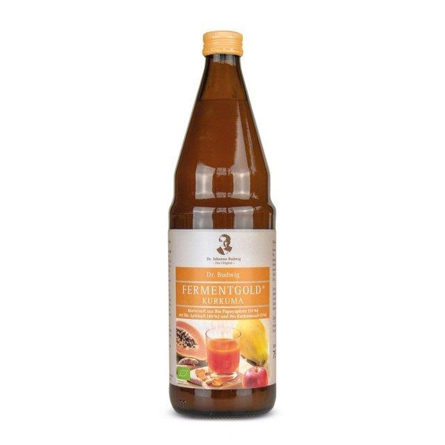 Dr Budwig Fermentgold KURKUMA - sok z papai i jabłek BIO 750ml - do diety dr Budwig