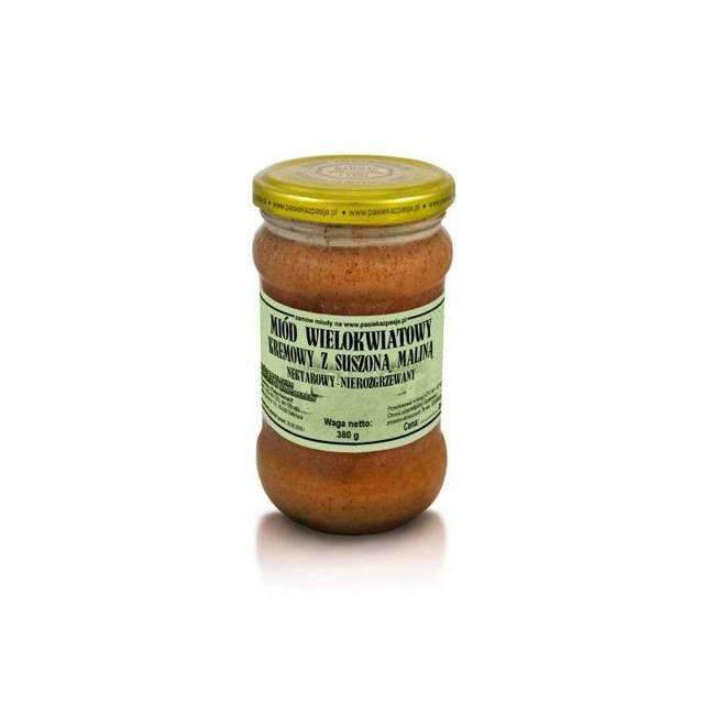 Suszona malina w miodzie wielokwiatowym nierozgrzewanym z Pasieki z Pasją Hawran - 380 g - kremowana na zimno - słoik szklany