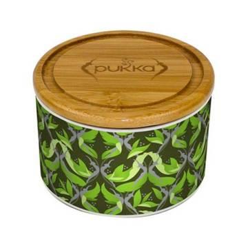 Wypełniony (!) herbatą PUKKA POJEMNIK Supreme Matcha Ceramic Tea Caddy (ZIELONY) - ceramiczna puszka na herbatę - super prezent dla kobiety